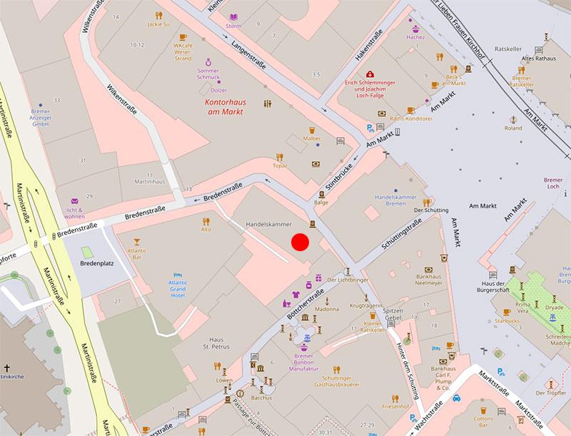 Karte des Standortes des Unternehmensservice Bremen